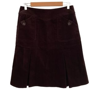 Free Co. Pleated A-Line Plum Corduroy Skirt